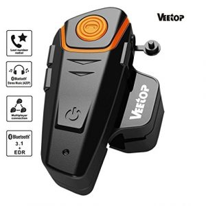 Veetop Intercom Moto Bluetooth 1000m Étanche – Chargeur UK / Set de 1