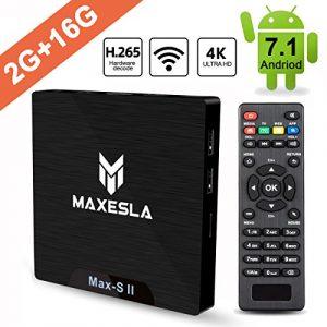 Android TV Box 2018 Dernière – Maxesla MAX-S II Android 7.1 Système, 2GB RAM + 16GB eMMC, Quad Core 64Bits CPU Amlogic S905W, Support Réel 4K*2K, WIFI 2.4Ghz, Smart TV Box