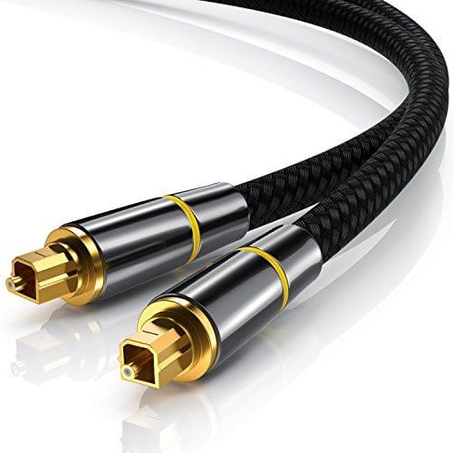 CSL – 3m (mètres) Câble Toslink HQ Platinum (optique/numérique) | Connecteur Toslink | Fibre optique | Connecteur HQ en métal avec contacts plaqués d'or | Home Entertainment/HiFi/consoles