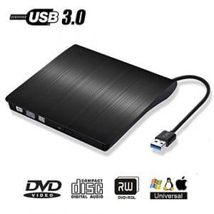 Lecteur Graveur DVD CD Externe USB 3.0 – PiAEK Graveur de CD-RW DVD-RW Ultra Slim Portable pour Notebook / Desktops Windows 2003/Vista/XP/7/8.1/10/Linux /Mac OS