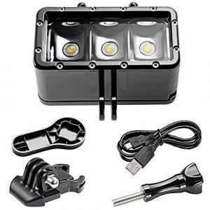 Neewer Lampe de Plongée avec 3 LEDs, 1200mAh Li-ion Batterie Rechargeable Intégrée, 131 feet/40 mètres Lumière Sous-marine Etanche pour Gopro Hero 5 5S 4 4S 3+ 3 SJCAM SJ4000 SJ5000 Caméras d'Action