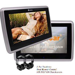 Eincar 10.1″ Têtière lecteur DVD de voiture avec double HD 1024 Moniteurs de voiture * 600 LCD à écran tactile avec USB / SD Port et le contrôle à distance gratuit