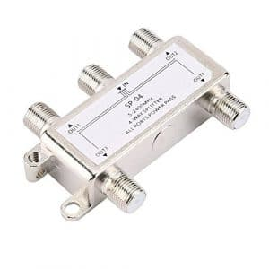 4 Way 4 Channel Satellite/Antenna/Cable TV Splitter Distributor 5-2400MHz F Type SP-04 Zinc Die-cast Housing