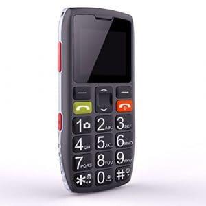 Téléphone Portable Senior Débloqué avec Grandes Touches, Bouton SOS, Artfone C1 Senior,caméra VGA,Radio FM,Haut-Parleur de Boîte,Batterie 1000mAh, Noir