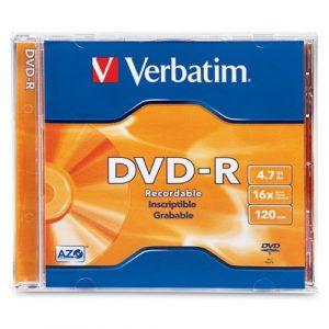 VERBATIM DVD-R 4.7GB 16X 1-Pack Jewel Case