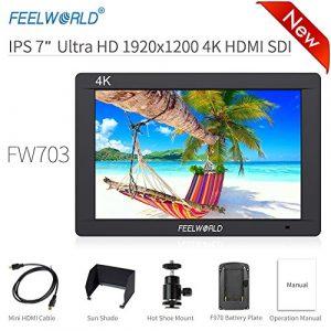 Feelworld FW703 Caméra Monitor 7″ 4K HDMI SDI Ultra HD 1920×1200 Champ Vidéo LCD IPS Screen 1200:1 Contraste élevé pour Steady Cam, DSLR Rig, Kit Caméscope, Stabilisateur de Poche