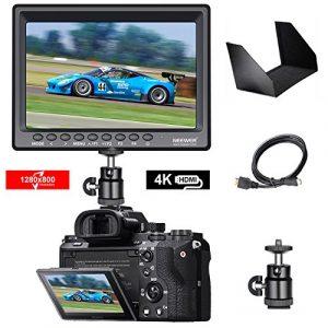 Neewer F100 7-pouces 4k 1280×800 IPS Moniteur de Champ sur Caméra avec 1 Mini HDMI Câble pour BMPCC, AV Câble pour FPV, Ratio Affichage 16:10 ou 4:3 pour DSLR et Caméscope (Batterie NON Fournie)