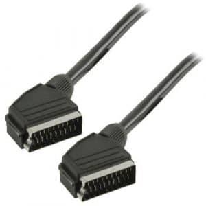 cablepelado–Câble euroconector-scart M-M 2mètres noir
