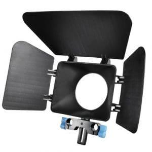 Compatible avec tous les supports DSLR avec tubes ronds de 15 mm de diamètre et espacés de 6 cm, évite les reflets sur les lentilles, degré de protection ajustable