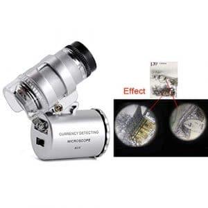 Godagoda Mini Microscope Lunette Grossissement 60X Multifonctionne avec lumière LED UV Ultraviolet Lamp Réglable Détecteur d'argent