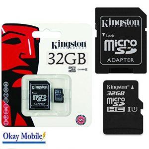 Kingston Carte mémoire microSD 32Go d'origine pour Mediacom phonepad Duo–32Go