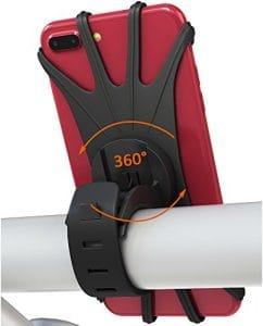 Bovon Support Téléphone Vélo, Universel Support Vélo du Guidon Silicone avec 360° Rotation Compatible avec 4,0-6,5 Pouces Smartphones pour Bicyclette & Moto