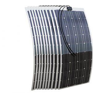 Ecoworthy 1kW 10pcs 100W monocristallin semi-flexible PV Panneau solaire avec tableau de base en aluminium, Excellent conducteur de chaleur pour Marine RV Bateau Système de chargement de batterie 12V