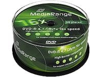 MediaRange BD-R DVD-R 4,7 Go 16 compartiment, Lot de 50