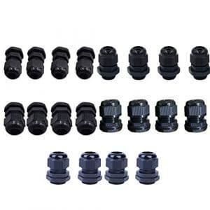 Robluee Presse-étoupe Plastique Etanche à l'eau Réglable 3-14mm Presse-étoupe Connecteurs PG7,PG9,PG11,PG13.5,PG16 20pcs