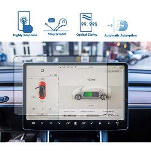 BMZX Protection d'écran Tactile en Verre trempé pour Tesla Model 3, Anti-Traces de Doigts, Anti-Rayures, Anti-Rayures, HD Transparent, Verre trempé pour Tesla Model 3 Navigation écran Tactile