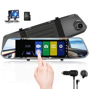 Caméra de recul avec caméra de recul à écran Tactile de 7 Pouces avec caméra de recul 1080p à l'avant et à l'arrière avec caméra de recul étanche (Carte SD de 16 Go Gratuite)