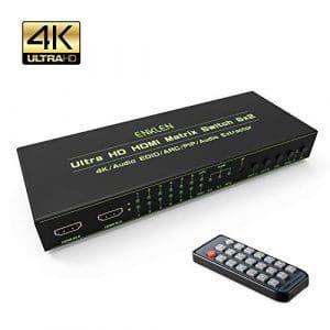 HDMI switch 4k, Splitter HDMI Matrix Commutateur 6 entrées 2 sorties 4K 3D, ENKLEN HDMI Commutateur Séparateur prend en charge PIP Arc EDID SPDIF 3.5 mm avec télécommande infrarouge pour