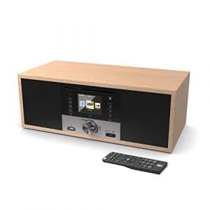 King's Webradio WiFi Connexion, Dab/Dab+/FM Radio, 40W Lecteur CD, Télécommande, Bluetooth, AUX, USB MP3 entrée, Réveil à Double Alarme (Chêne)