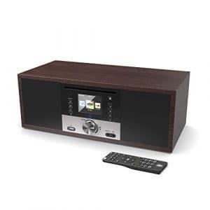 King's Webradio WiFi Connexion, Dab/Dab+/FM Radio, 40W Lecteur CD, Télécommande, Bluetooth, AUX, USB MP3 entrée, Réveil à Double Alarme (Noyer)