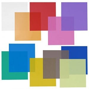 Neewer Filtre Transparent de Gel en Couleur 30x30cm pour Photo Studio(Vert/Bleu/Violet/Rose/Rouge/GrisClair/Gris Foncé/Jaune/Beige/Vert Frais/Acid Blue) Pack 11