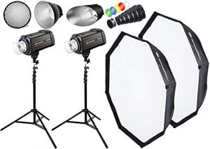 BRESSER Set de flash de studio: 2x FM-800 + Forfait Promotion 1