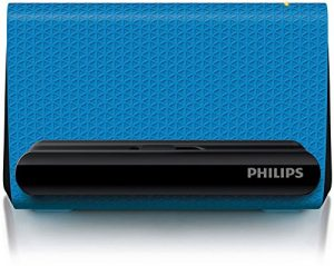Philips Enceinte portable SBA1710BLU/00 – Enceintes portables (4 W, 200-20000 Hz, 4 Ohm, Avec fil, Bleu, Autres)