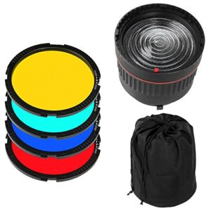 Fotga NG-10X – Lentille de mise au point lumineuse de studio – Avec 4 filtres de couleur – Pour flash LED