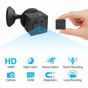 HEYSTOP Mini Caméra Espion, Mini Caméra Cachée HD 1080P Portable Petite Caméra Vision Nocturne Détection de Mouvement de Surveillance de Sécurité