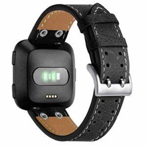 Bracelet à la Mode, fittingran pour Fitbit Versa Bande Bracelet en Cuir, Hommes Femmes Double Clou Remplacement de Luxe Sangle en Cuir véritable pour Bracelet Fitbit Versa Fitness Watch Noir