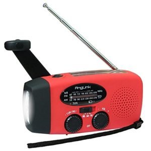 [garantie 2 ans] solaire Radio, anglink Radio AM/FM/Noaa Manivelle Dynamo Radio rechargeable étanche lampe dynamo LED Power Bank pour randonnée, camping, Ourdoor, cas d'urgence (Rouge)
