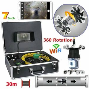 JaidWefj WiFi Caméra d'inspection de Tuyau/7 Pouces HD CCD 800TVL Endoscope Industriel Drainer d'égout imperméable IP68 Le système d'inspection de vidéo/Caméra rotative à 360 degrés avec 38 LEDs,30m