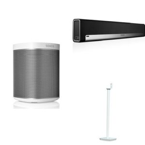 Système Home Cinéma Sonos 5.0 – Sonos Playbar barre de son TV + 2 Sonos Play 1 Blanc + Flexson Pied d'Enceinte pour SONOS PLAY:1 Blanc (Paire)