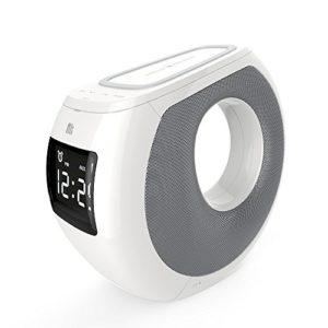 CCYY Recharge sans Fil Bluetooth Haut-Parleur réveil 3 en 1 Qi sans Fil Chargeur Bluetooth stéréo Haut-Parleur Radio-réveil