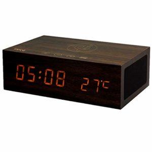 Charge sans fil QI réveil, horloge mains libres Snooze Table commandes tactiles d'affichage de la température du haut-parleur Bluetooth en bois de chevet h luminosité réglable,Marron
