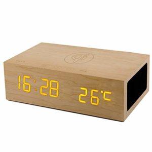Charge sans fil QI réveil, horloge mains libres Snooze Table commandes tactiles d'affichage de la température du haut-parleur Bluetooth en bois de chevet h luminosité réglable,Wood