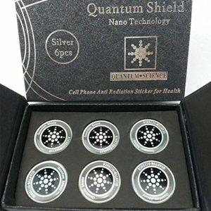 LuMon Protection Blason, 6pièces Anti Radiation Téléphone Cellulaire Sticker avec Spécial Matériel, Rond Quantum Blason pour Mobiles Améliore la Veille Temps – Argent