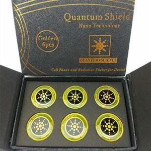 LuMon Protection Blason, 6pièces Anti Radiation Téléphone Cellulaire Sticker avec Spécial Matériel, Rond Quantum Blason pour Mobiles Améliore la Veille Temps – Or