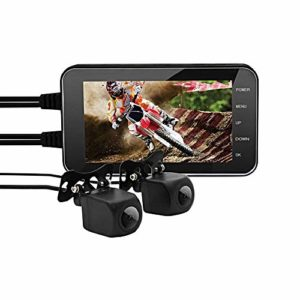 OKEU Enregistreur Moto, Dash Cam Moto 4 inch Full HD 1080p/720P Double Caméra de Moto Etanche, Grand Angle 160 ° Moto Enregistreur de Moto WDR, Capteur G, Enregistrement en Boucle