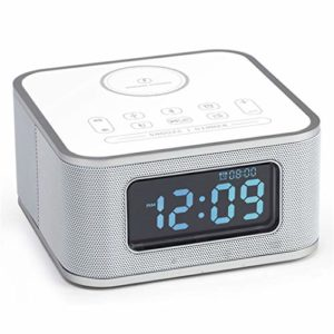 Réveil recharge sans fil mobile horloge radio numérique, commandes tactiles réveil radio haut-parleur Bluetooth, radio FM Accueil Horloge de table de chevet LED Snooze mains libres,Blanc