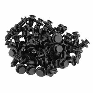 10mm 50 Pcs Automatique De Voiture Véhicule Pare-Chocs Clips De Fixation De Fixation Rivet Panneau De Porte Fender Doublure en Plastique Pare-Chocs De Fixation pour Honda Kaemma(Color:Black)