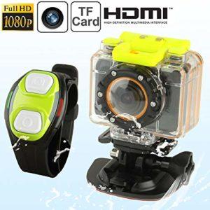 MKOKO Caméscope Sport Full HD 1080p F20 avec boîtier étanche et télécommande, 5 méga-capteurs CMOS, 30 m étanche Qualité sans souci