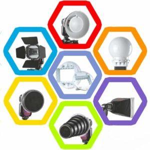 MKOKO Kit d'accessoires Speedlite SG-100 Falcon Eyes, Support d'adaptateur Universel/Barndoor/Snoot/Honeycomb/Réflecteur Standard/Nid d'abeille pour réflecteur Mou/Boule de Diffusion/Gel de co
