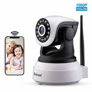 Sricam SP017 Camera Surveillance WiFi 1080P Caméra de Surveillance sans Fil, Camera IP WiFi 1080p, P2P avec Microphone et Haut Parleur,Vision Nocturne,Détection de Mouvement,Caméra Sécurité