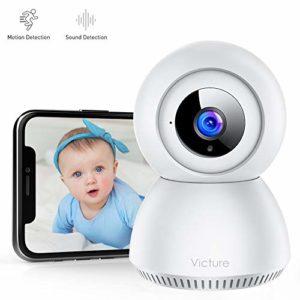 Victure 1080P Moniteur Bébé avec Detection de Sonore, FHD Caméra Surveillance Wi-FI Intérieur sans Fil avec Vision Nocturne, Alerte de Detection de Mouvement, Audio Bidiectionnelle pour Bébé