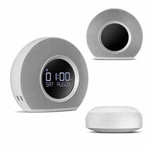 ZJHNZS Haut-Parleur Bluetooth Radio-réveil sans Fil avec Haut-Parleur Bluetooth et Chargeur USB à LED Lumière ambiante Incroyable Son stéréo Affichage LCD, Blanc