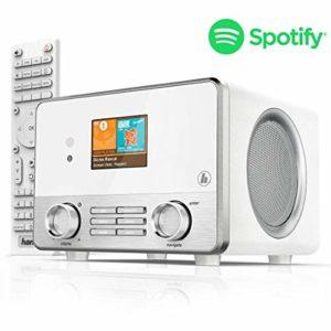 Hama Radio Internet «IR110MS» (Spotify, Wi-Fi, USB, Multiroom, 30 stations préférés, écran couleur 2,6″, éclairé, radio-réveil intégré, avec télécommande, application de radio UNDOK gratuite) Blanc