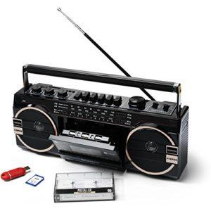 Ghettoblaster PR1980 de Ricatech | 2x 8 Watt Haut-parleurs X-Bass | USB + Slots SD |Radio AM/FM | Prise casque 3,5 mm | Lecteur cassette | Microphone intégré avec enregistrement direct sur cassette