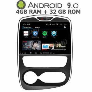GÜMÜ – PXCLIO4AT9- Autoradio GPS pour Renault Clio 4 de 2016 a 2018-10,2 Pouces – Android 9.0 Oreo + 4GB de RAM+ 32GB de mémoire – Bluetooth- clé USB- WiFi –