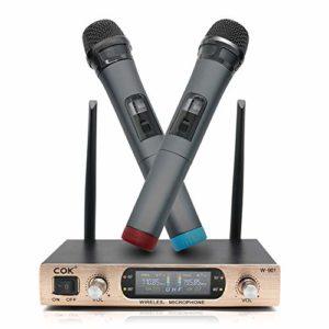 Karaoke Micro sans Fil Professionnel avec 2 Microphones sans Fil à Main pour Chanter,Karaoke,Fête,PC,TV,DVD